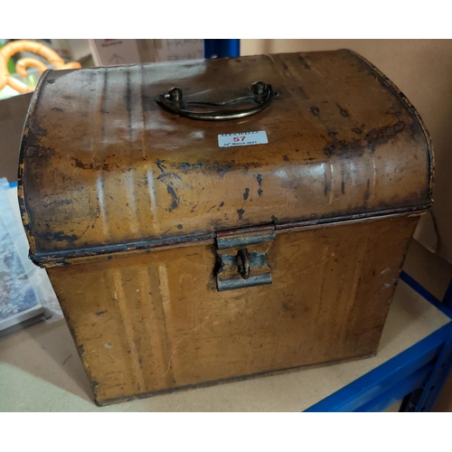 57 - A 19th century small metal trunk with brass handle, length 31 cm