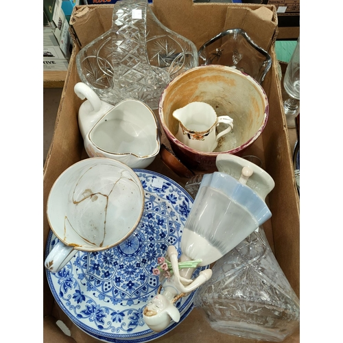 1 - A stoneware jug; 2 Delft plates; a 1930's cut glass squash jug; other ceramics and glass NO BIDS SOL...