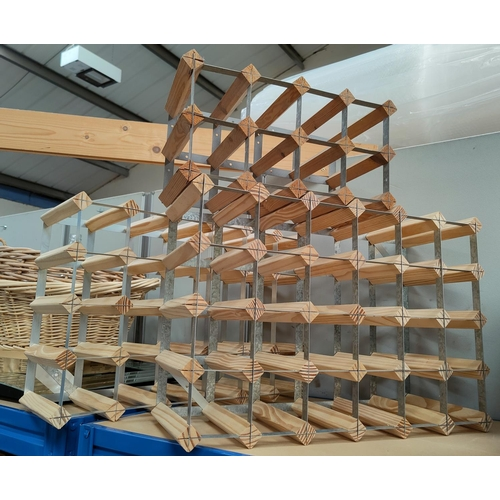 11B - Two large metal and wood wine racks and a smaller rack...