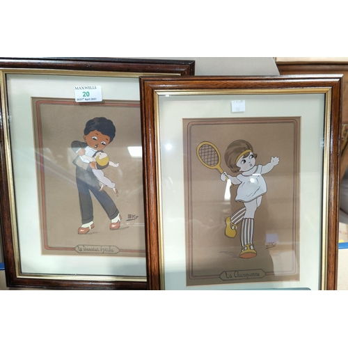20 - Sky:  a 1930's pair of child caricatures -