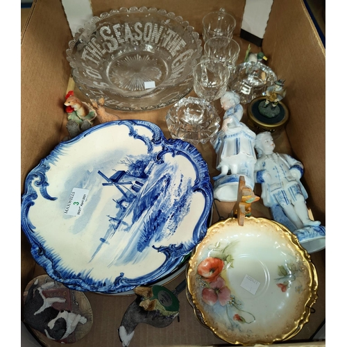 3 - A pair of Delft plates and a selection of decorative china...