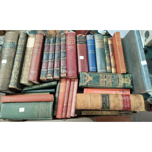 34 - A selection of various leather bound books; other hardback books...