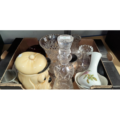 36 - A cut crystal thistle decanter; 3 cut vases; a selection of decorative and miniature china; etc....