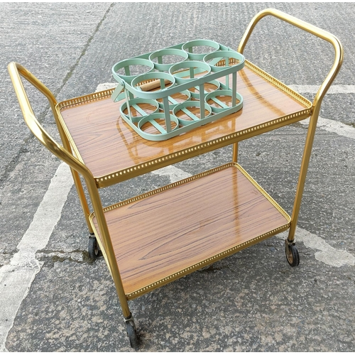 36B - A retro style milk/bottle carrier (small bolt missing), a vintage gilt cocktail trolly...