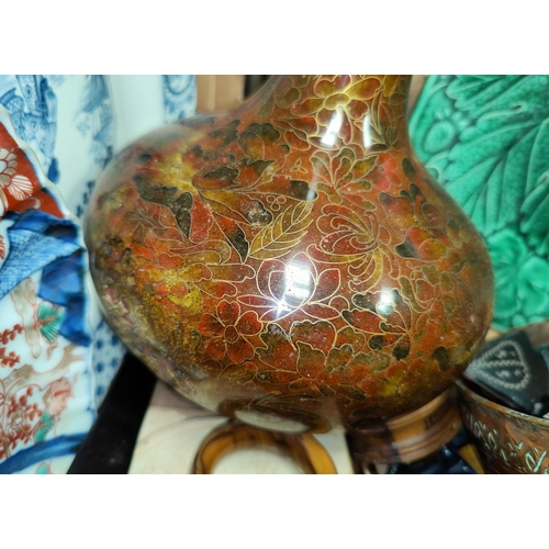 43 - An imari scalloped plate, a Chinese cloisonne vase, other oriental and various ceramics etc....