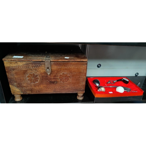 2 - An Indian hardwood box with hinged lid, 35cm a slate top table 36cm and a golf themed jigger etc...