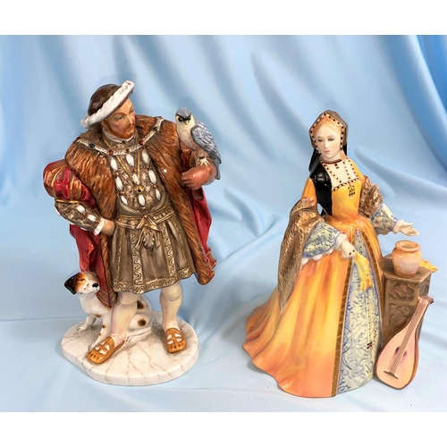 381 - A collection of Royal Doulton limited edition figures of Henry VIII and his 6 wives:  Henry VIII HN3...
