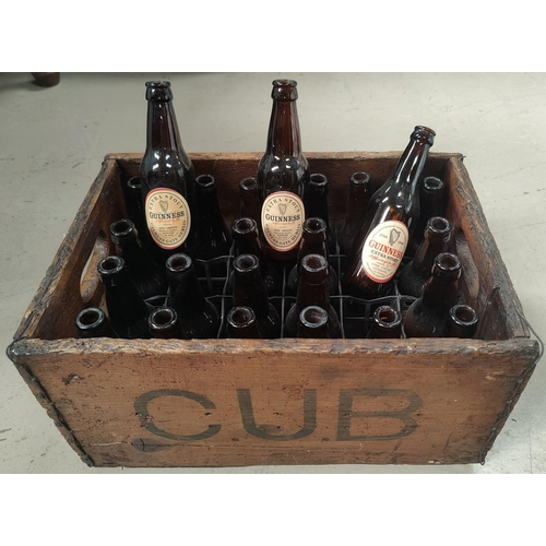 1 - Ac selection of vintage breweriana including an early 20th century pine crate marked CUB containing ...