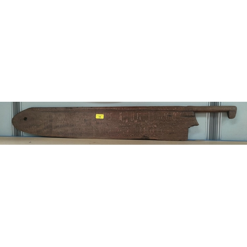 14 - An antique wooden farmer's wheat shearing tool...