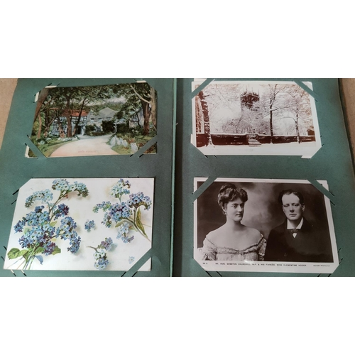 185 - A 1920's postcard album containing over 150 covers and another part filled...