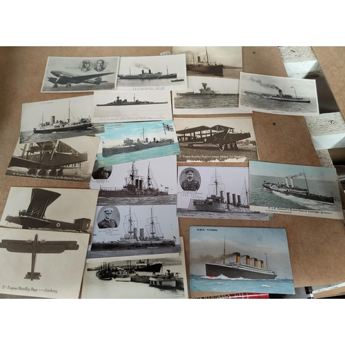 189 - An RMS Titanic memorial postcard, other ships and 5 cards depicting Handley Page aircraft...