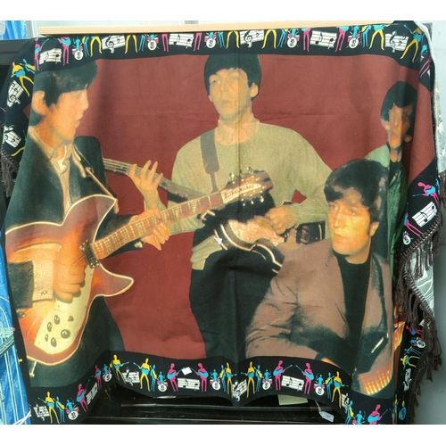 2 - A 1960's style rug / wall hanging depicting the Beatles with fringed ends...