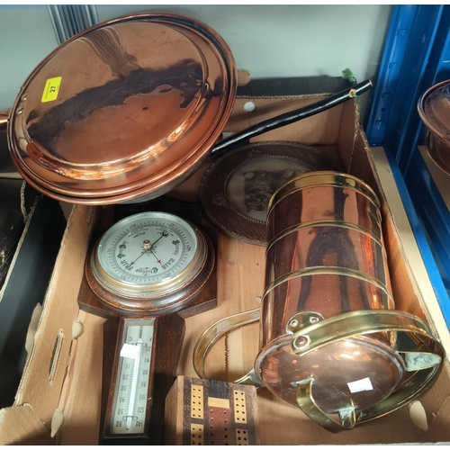 27 - A 19th century copper warming pan and jug; a silver photo frame...
