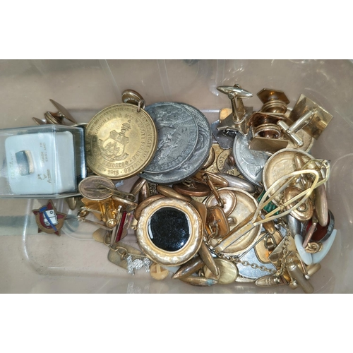 3 - A small selection of cufflinks, medal etc, an Imari dish, vintage clothes dolly etc...
