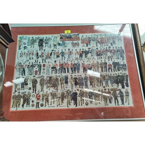 30 - A selection of paintings; military uniforms; etc....
