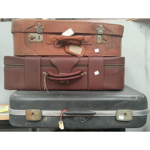 30F - A gent's c 1960's tan coloured suitcase and 2 others...