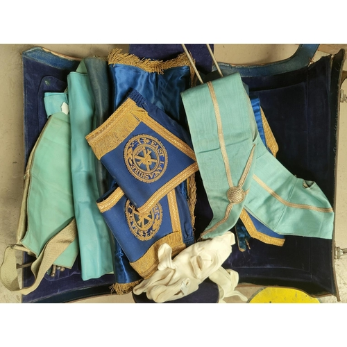 32 - A selection of masonic regalia in leather bag; 4 aprons; etc....