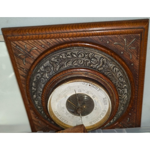4 - A carved wooden aneroid barometer and a selection of collectables...