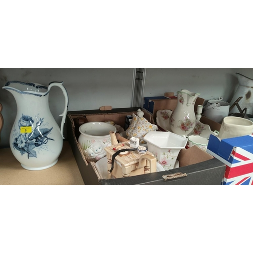 9a - A cast metal rooster door stop, A Victorian large blue and white jug; a selection of Royal Winton an...