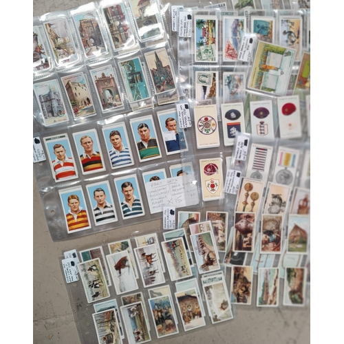 190K - A selection of various parts etcs of cigarette cards including 1935 Rugby Internationals, Medals, In...