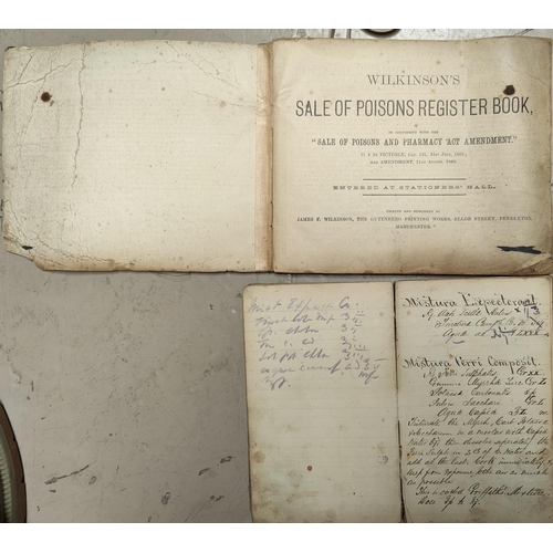 202 - A 19th Century pharmacy receipt book, 29 LL and a poison register with entries starting 1904.