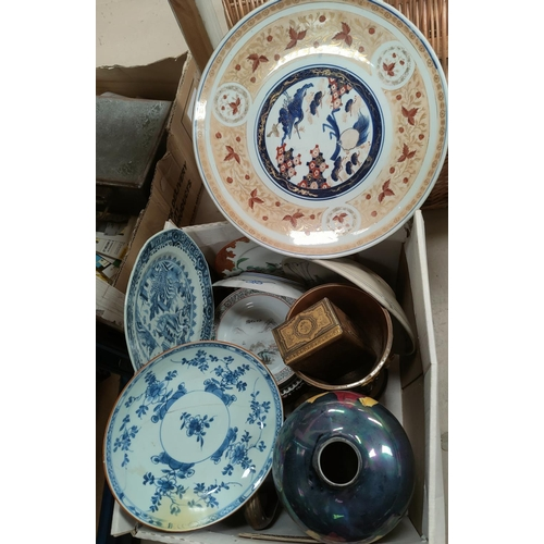 22B - A Japanese charger and a selection of modern oriental and other ceramics...