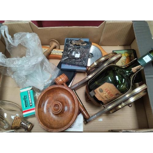 35 - A pair of lignum vitae bowls; 2 walking sticks; decorative items...