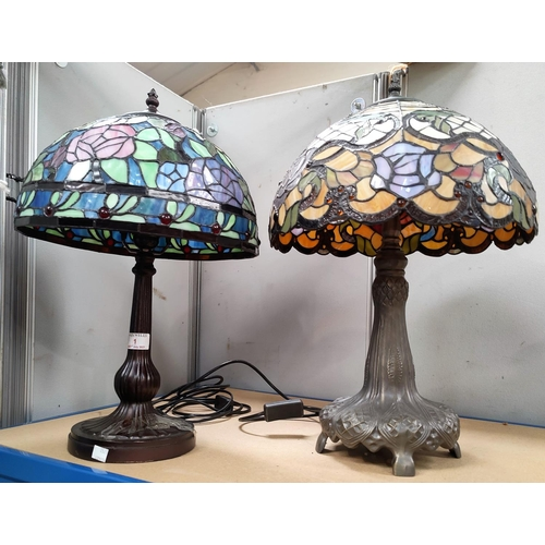 1 - Two modern Tiffany style table lamps with coloured glass Art Nouveau style shades...