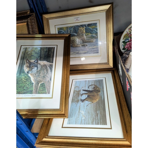 11 - A set of 3 limited edition prints, artist signed:  Leopard; Elephant & Wolf, framed and glazed...