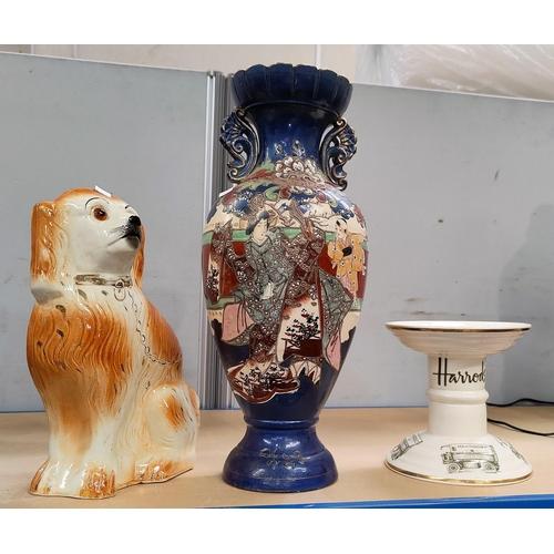 12 - A large satsuma vase; a Staffordshire dog; a Mason's for Harrod's stand; a large blue & white meta p...