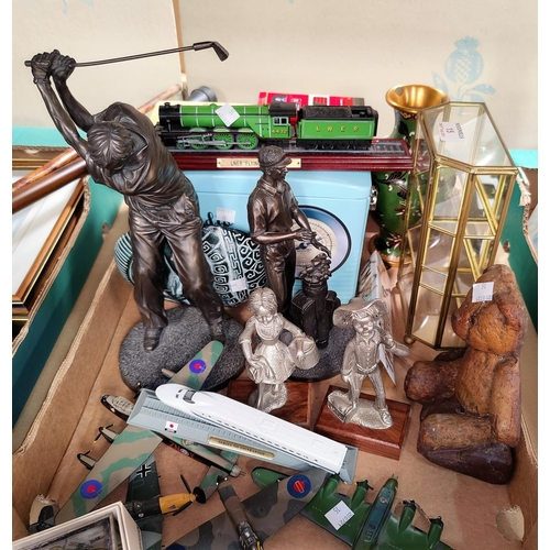 15 - Two bronzed figures of golfers; a selection of collectables:  a cloisonné vase; diecast planes; nove...