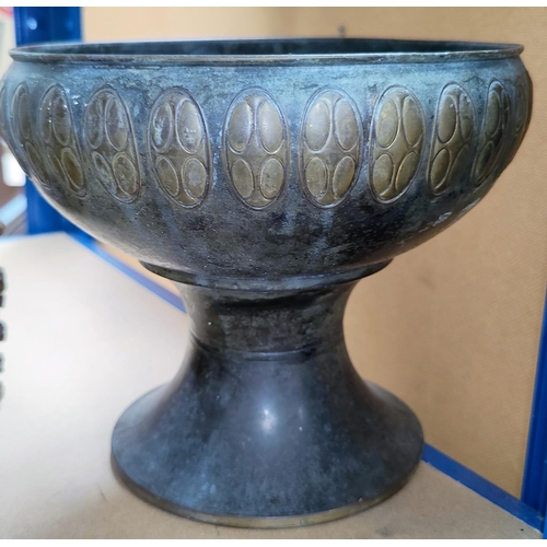 16 - A bronzed and brass pedestal bowl in the Arts & Crafts style; metalware; silver plated cutlery; etc....