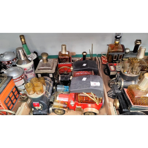 32 - A selection of vintage car liqueur sets and other related items