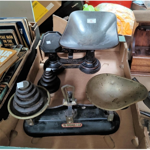 19 - Two vintage sets of kitchen scales; and another; 2 sets of weights...