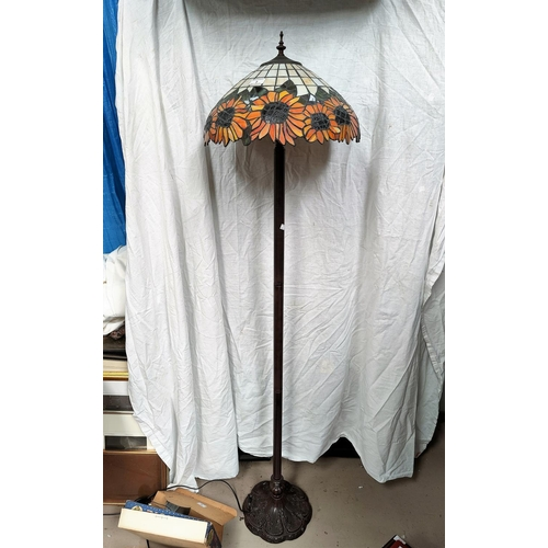 2 - A modern Tiffany style standard lamp with coloured glass Art Nouveau style shade
