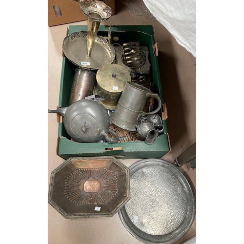 59 - A silver plated table centre/vase; a silver plated biscuit barrel; silver plate and pewter