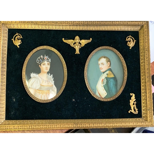 211 - A fine pair of hand painted oval miniature half length portraits of Napoleon and Josephine, each 95 ...