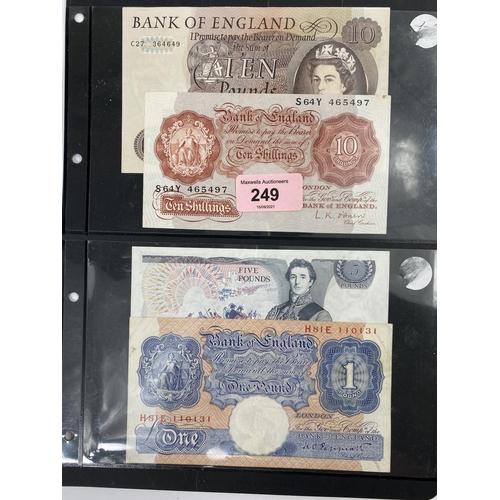 249 - GB banknotes: Page £10, Samuelson £5, Peppiatt £1 blue, O'Brien  10s