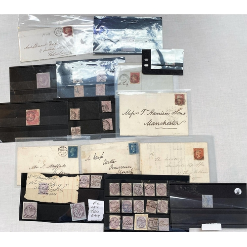 249A - GB: 2x 2d blue postal covers, 5 similar 1d red; stamps to 5s and Victorian court documents
