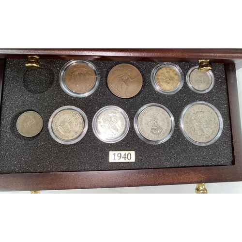 250A - GB coin sets 1939-1945 in cabinet (not complete)