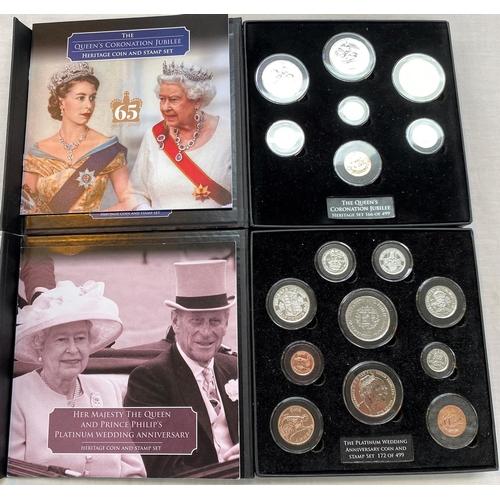 251A - GB: coin/stamp sets, Platinum wedding; Coronation