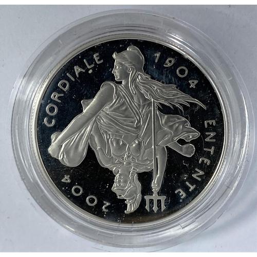 255 - GB: £5 piedfort silver coin, Entente Cordiale