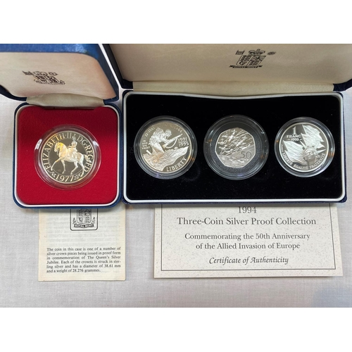 256A - 1994 coin set: USA $1, GB 50p, France 1 Fr, silver proof 1977 crown