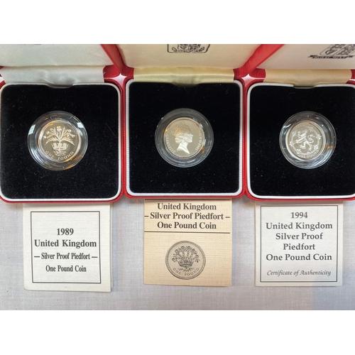 257 - GB: three silver piedfort £1 coins, 1985, 1989, 1994