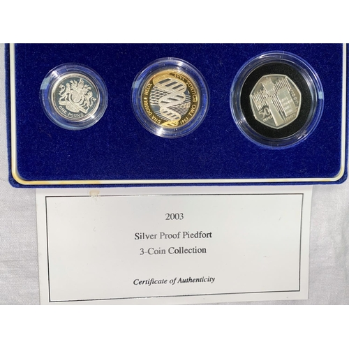 260A - GB: silver piedfort proof collection, 2003, £2 DNA, £1, 50p votes for women centenary