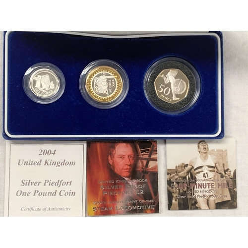 270 - GB: 2004 silver piedfort proof set, £2, £1, 50p