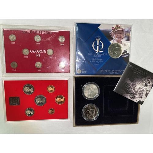 273 - GB: silver 3d 1937-1944, QEII 60th anniversary coronation set, diamond jubilee £5, 1981 proof set