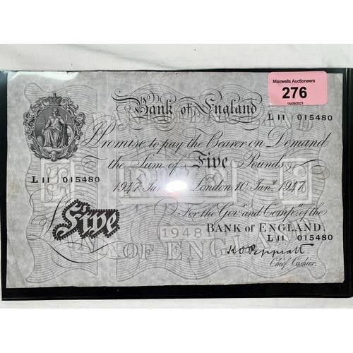 276 - GB: White £5 note, Peppiatt, L11 015480 10th June 1947
