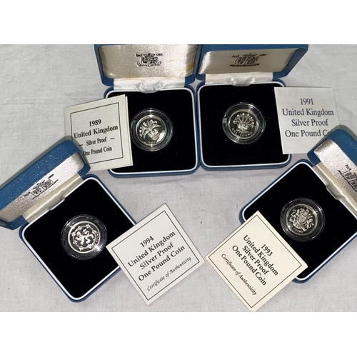 278 - GB: silver proof £1 coins, 1989, 1991, 1993, 1994 (4)