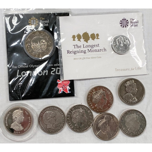 279 - GB: Olympics 2012 £5, QEII £20 silver, 7x £5 coins